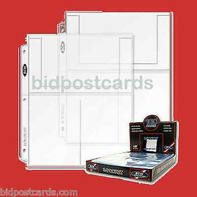 75 BCW 3-Pocket Archival Display Page Sheets Holders Refill 4x6 Postcards Photos