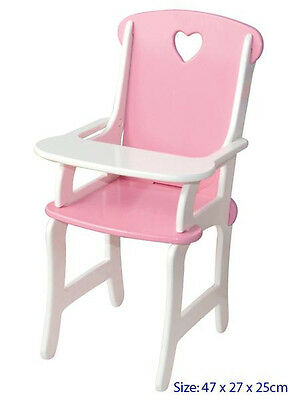 NEW Fun Factory Wooden Pink Dolls High Chair Highchair