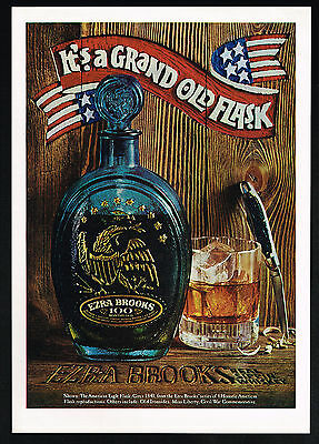 1970 Ezra Brooks American Eagle Flask Bottle Photo Sippin Whiskey Print Ad