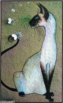 Large Ltd Ed Siamese Cat Butterfly Print From Original Painting Suzanne Le Good
