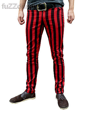 Mens Drainpipes trousers skinny jeans vtg indie mod STRIPED black red hipsters