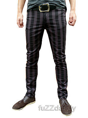 Mens Drainpipes trousers jeans vtg 60s indie mod pin striped grey black hipsters