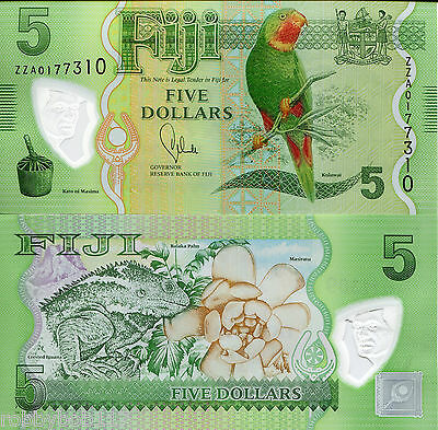 FIJI 5 Dollars Banknote World Money Polymer Currency Note BILL 2013 REPLACEMENT