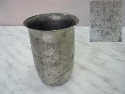 1920s ANTIQUE DUTCH METAL TIN REAL PEWTER CUP MARKED