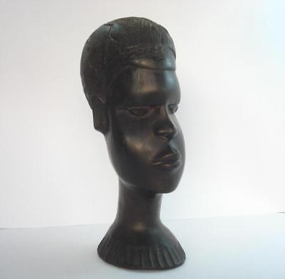 19C. Antique African Art Ebony Female Head Statuete