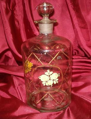 19C. ART NOUVEAU BIG DECORATED GLASS BOTTLE w/STOPPER