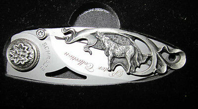 Schrade WOLF Pewter Wildlife  Collection  Knife-Wolf Scene-3 inch closed