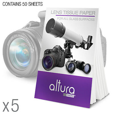 5 Booklets 250 Cleaning Tissues for DSLR Camera Lens & Filters by Altura Photo®