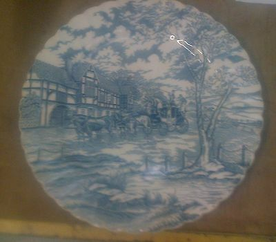 MYOTT ROYAL MAIL LARGE PLATE - 31cm - some crazing  - BLUE & WHITE