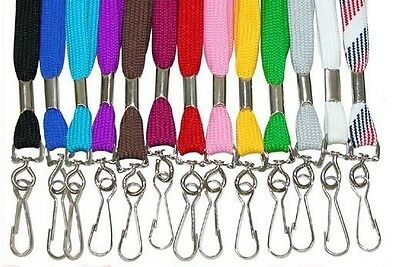 Wholesale LOT 600 NECK LANYARDS Straps ~ Flat Cotton Style with hook 13 Colors