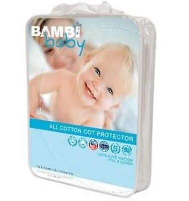 New Bambi Baby 100% All Cotton Fitted Cot Matress Protector Boori Size 75x131cm