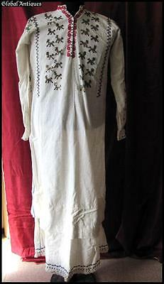 19C. Antique Balkans Folk Costume Hand Embroidered Cotton Shirt