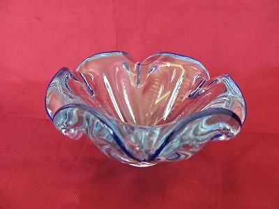Vintage Italian Murano Cobalt Blue Crystal Glass Decorative Candy Bowl