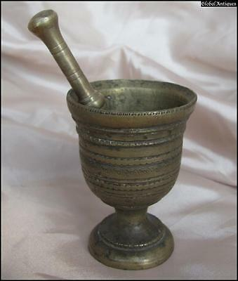 19C. Antique Apothecary Bronze Mini Mortar And Pestle Rare