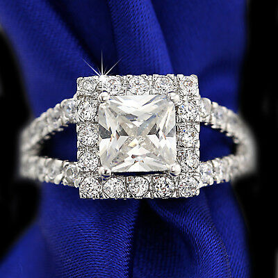 18K White Gold Gf 9Ct Square Diamond Hug Wedding Engagement Solid Band Ring Gift