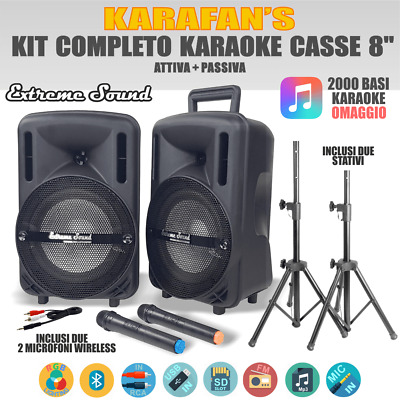 2 CASSE Audio 1300 WATT Extreme Sound Bluetooth USB RADIO FM KARAOKE PC DELTHA-8