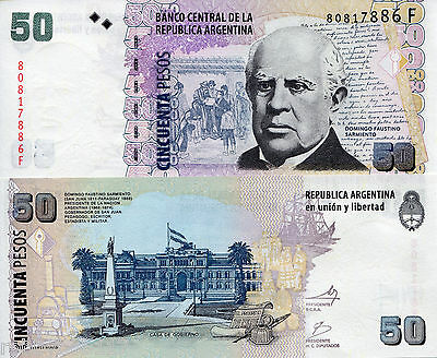 ARGENTINA 50 Pesos Banknote World Money Currency South America BILL p356 Note