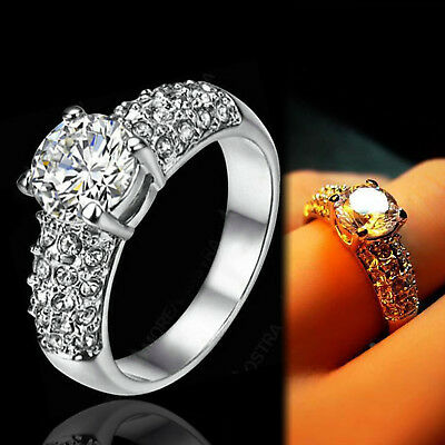 18K White Gold Gf 2Ct Solitaire Lab Diamond Engagement Wedding Lady Crystal Ring