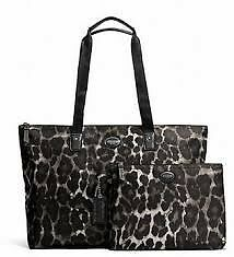 NWT Womens Coach Weekender Packable Ocelot Silver Leopard Totes (2bags) F77405