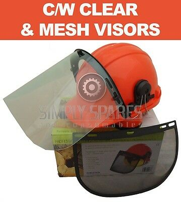 Chainsaw Combination Safety Helmet Hard Hat c/w Ear Muffs, Mesh & Clear Visors