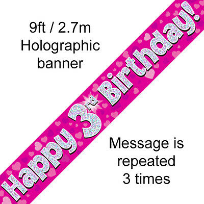 AGE 3 ' HAPPY BIRTHDAY ' PARTY  BANNER - HOLOGRAPHIC  -  3rd PINK GIRL - NEW