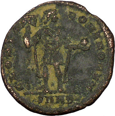 ARCADIUS with labarum & globe Ancient Roman Coin Chi-Rho Christ monogram i35573