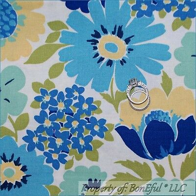 BonEful Fabric FQ Cotton White Blue Green Yellow Flower Shabby Cottage Chic RARE