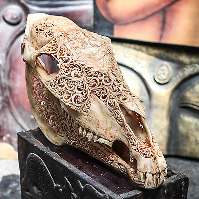 REAL HAND CARVED HORSE SKULL w GANESHA / Taxidermy antlers Mule Animal Mount