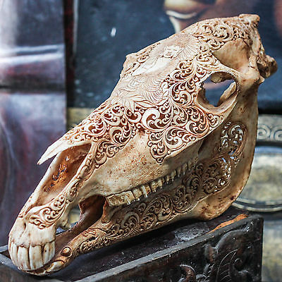 REAL HAND CARVED HORSE SKULL w BUDDHA DESIGN Taxidermy antlers Mule Animal Mount