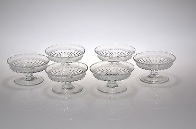 1916 - 31 #473 NARROW FLUTE w/RIM by Heisey CRYSTAL Six Individual Almond Dishes