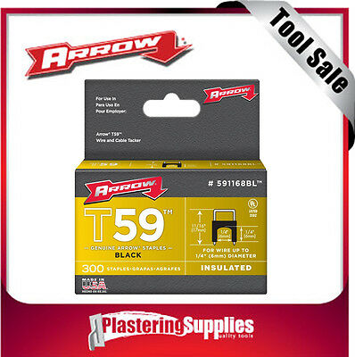 Arrow Wire Staples 300-Pack T59 Insulated Black 6mm by 6mm 591168BL