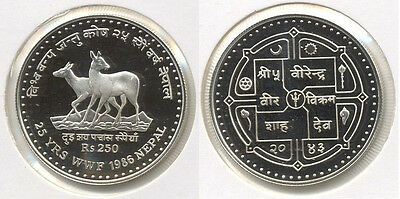 1986 Nepal Large Silver Proof  250 Rs-Antelope