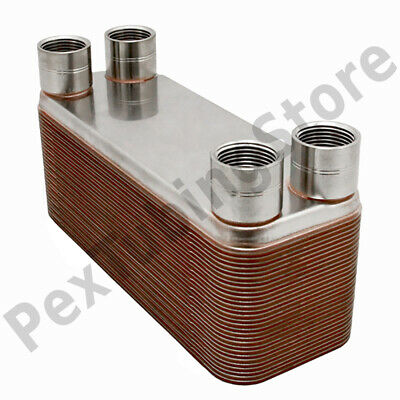 "26-Plate 3x8 Water to Water Brazed Plate Heat Exchanger, 3/4"" FPT, 316L St Steel"