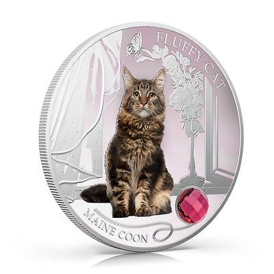 Fiji 2013 Fluffy Cat III Maine Coon Dogs & Cats Series 1 Oz Proof Silver Coin