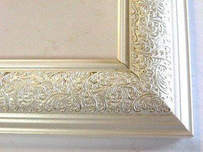"""1.8"""" Wide Swirl Pearl White Solid Wood Picture Frame-Custom Made In Square Sizes"""