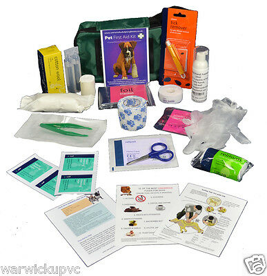 COMPREHENSIVE PET DOG FIRST AID KIT CARAVAN WALK Large 20 items CPR&TOXIC GUIDE