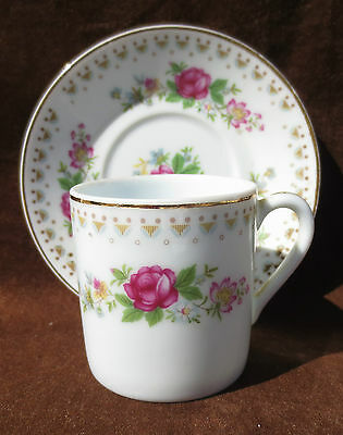 Pretty floral demi demitasse espresso teacup and saucer made in China