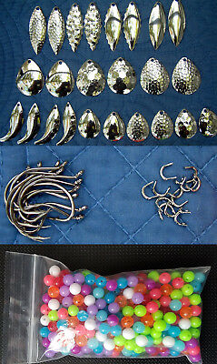 Nickel Plated Spinner Blades Variety Pack,Hooks, Clevises, Beads Walleye Candy