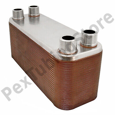 "30-Plate 4-1/4"" x 12"" Brazed Plate Heat Exchanger, 1"" MPT Ports, 316L St. Steel"