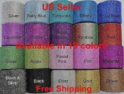 "4.75""x 1 YD/3 YDS DIAMOND MESH WRAP ROLL CRYSTAL RHINESTONE SPARKLE BLING RIBBON"