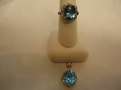 10K WHITE GOLD FANCY RING AND PENDANT WITH LIGHT BLUE STONE (BEAUTIFUL)