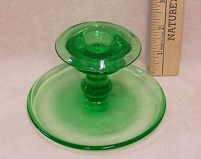 """Green Pressed Glass Candlestick Holder Candle Stick 3"""" Tall"""