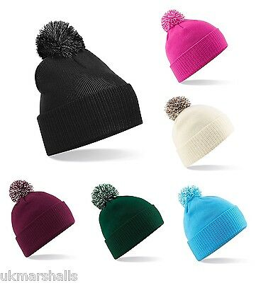 5a7143ed699 Beechfield Adults Snowstar Beanie Hat Winter Bobble Cap Beany 9 Colours B450