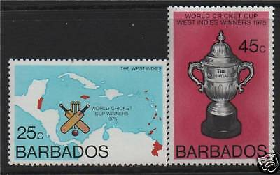 Barbados 1976 World Cup Cricket SG 559/60 MNH