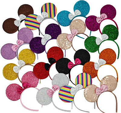 Minnie mouse ears hairband fancy dress party hen night 12 glitter colours