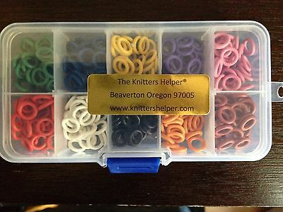 Complete Set of 300 MEDIUM Stitch Markers 10mm OD - 6mm ID Silicone 10 colors