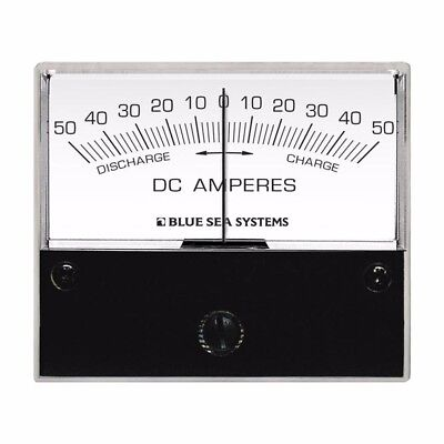 """Blue Sea Systems 8252 Dc Zero Center Analog Ammeter 2-3/4"""" Face 50-0-50 Amperes"""
