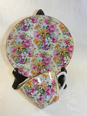 Vintage Mascot China Cup and Saucer Set Chintz Pattern