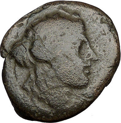 Amphipolis Macedonia 196BC Ancient Greek Coin Dionysus Wine God Goat  i35747