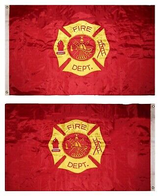 3x5 Embroidered Fire Department Fire Fighter Double Sided 2-ply 220D Nylon Flag